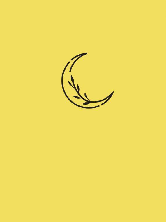 Tatu moderno y minimalista de una luna y una flor